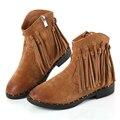 2017 Nuevos Zapatos de Las Muchachas Botas Borla de Cuero Genuino Material de Felpa Cálida Niños Decoración Niños Muy Hermosa Sentía Arranque