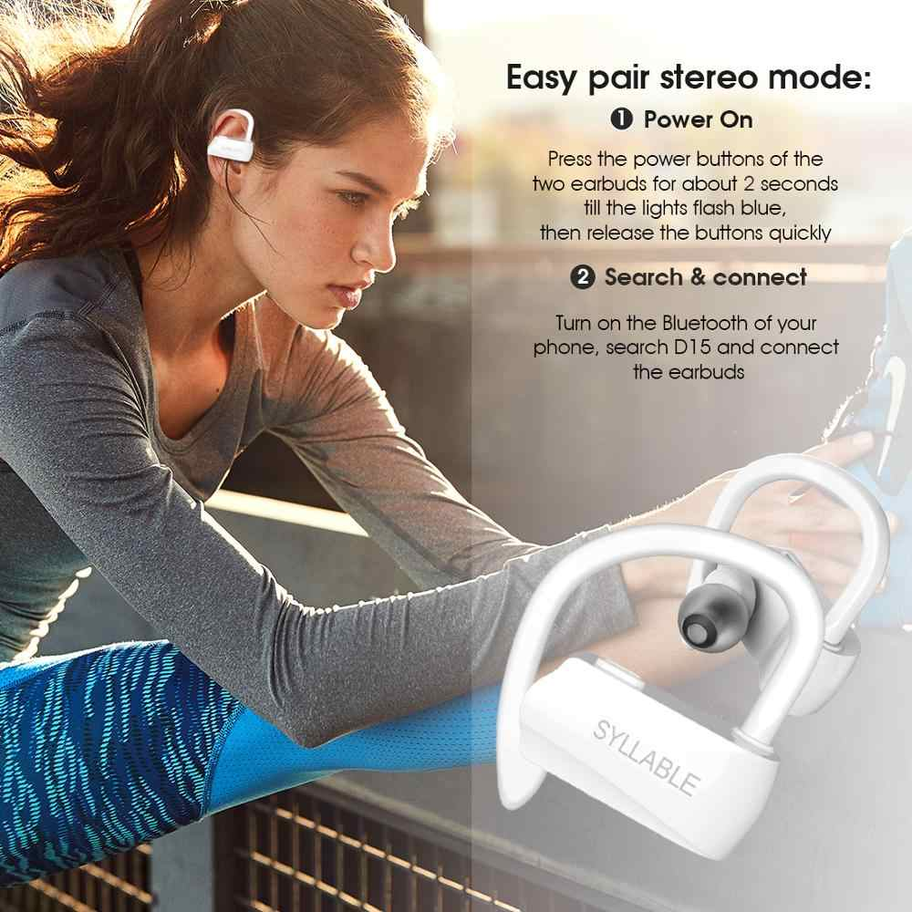 Kolorowe sylaba D15 bezprzewodowe sportowe bass słuchawki TWS prawda bezprzewodowe słuchawki stereo sylaba D15 zestaw słuchawkowy bluetooth z mikrofonem