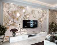 High Quality 3D Wallpaper Mural 3D Stereo Jewelry Flower Swan TV Wall Wallpaper Home Decor Contact