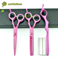 "5.5"" pink japanese hairdressing scissors hot hair stylist shears professional barber scissors set hair thinning scissors pinking"