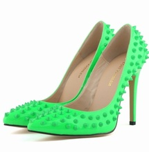 rivets studs stilettos punk gothic rock womens heels spikes Hedgehog neon  fluorescence green yellow orange pink leather pumps