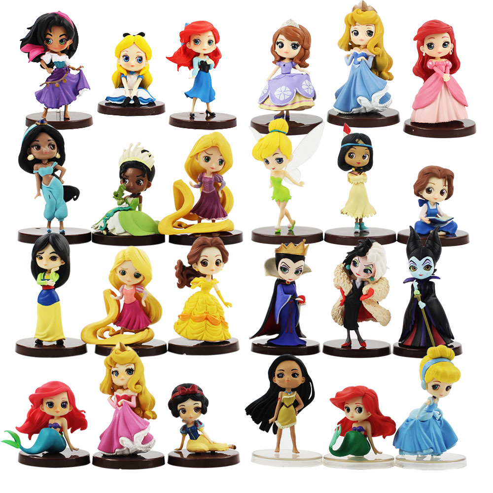 3pcs/lot Q Posket Figure Toy Princess Ariel Mermaid Snow White Rapunzel Belle Mulan Moana Sleeping Beauty Model Dolls