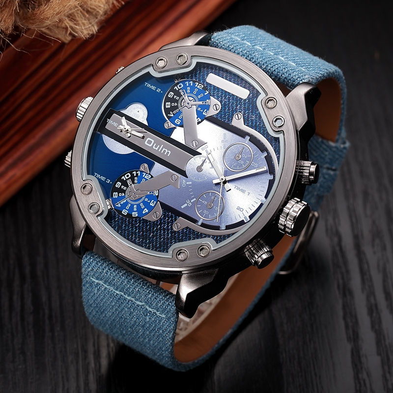 Oulm Fabric Strap Men Luxury Watches Super Big Dial Sports Male Quartz Watch 2 Time Zone Fashion Casual Men's Wristwatch