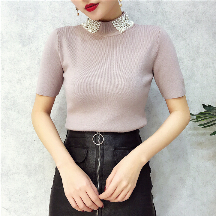 ALPHALMODA 18 Summer Ladies Short-sleeved Pearl Collar Pullovers Casual Slim Knit Sweater Women Studded Fashion Jumpers 27