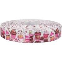 7 8 22mm Food Cake Pink Printed Grosgrain Ribbon Handmade Diy Materials Original Handcraft Gift Event