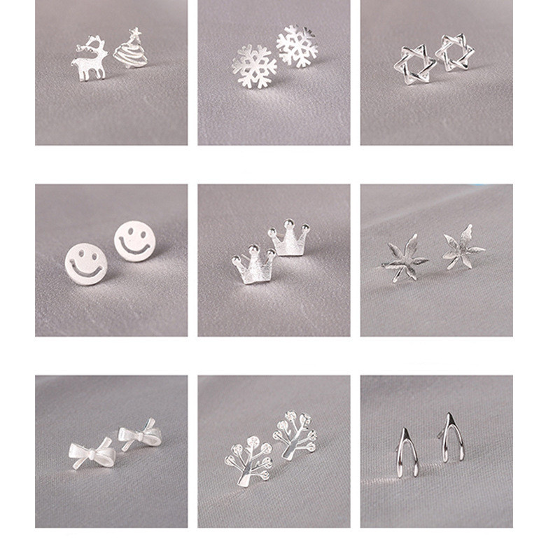 100% 925 Solid Real Sterling Silver Piercing Bowknot Crown Star Stud Earrings For Women Girls Brincos pendientes Brincos eh979
