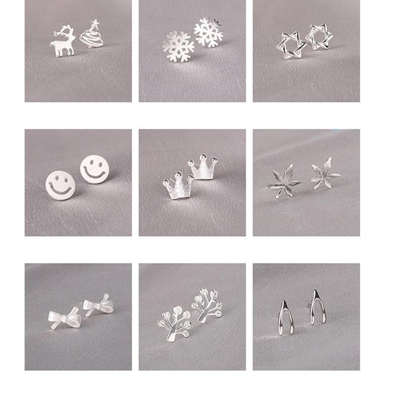 100% 925 Solid Real Sterling Silver Piercing Bowknot Crown Star Stud Earrings For Women Girls Brincos pendientes Brincos eh979