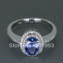 Luxury Tanzanite Ring Oval 5x7mm 14Kt White Gold Fine Jewelry for Wedding R0014