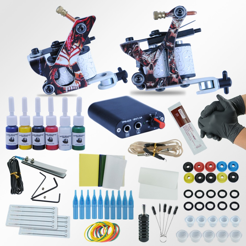 Tattoo Machines Power Box Set 2 guns Immortal Color Inks Supply Needles Accessories Kits Completed Tattoo Permanent Makeup Kit