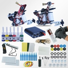 Tattoo Machines Power Box Set 2 guns Immortal Color Inks Supply Needles Accessories Kits Completed Tattoo Permanent Makeup Kit(China)