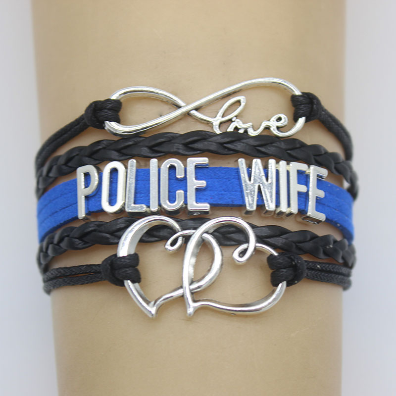 Us 1 64 Infinity Love Police Wife Bracelet Wedding Heart Charm Leather Men Bracelets Bangles For Women Jewelry In Chain Link