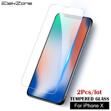2 Pcs Glass Screen For iPhone X Tempered Transparent Protector Protective Film Scratch Proof