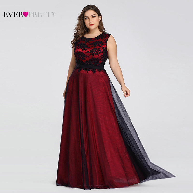 Plus Size 2019   Prom     Dresses   Long Ever Pretty EZ07545 Elegant Burgundy Lace Applique Tulle Sexy Dark Green Gala   Dress   for Wedding