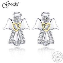 Geoki 925 Sterling Silver White Micro Cubic Zirconia Heart Guardian Angel Stud Earrings CZ S925 Wing Earrings for Women Jewelry недорого