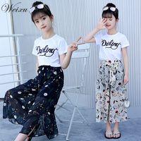 Toddler Baby Girls White Top T Shirt Flower Chiffon Broad Legged Pants 2PCS Set Clothes for Teenage Girls 6 8 10 12 14 Years Old