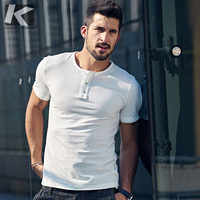 KUEGOU 2017 Summer Mens Casual T Shirts Button Solid White Color Brand Clothing Man S Short