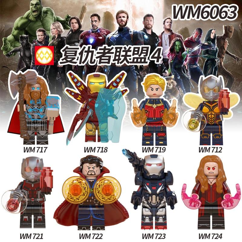 Iron Man Avengers 4 Endgame Captain Marvel Thor Doctor Strange Ant Man War Machine Scarlet Witch Building Blocks Toys Gift