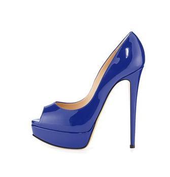 8849f972 Carpaton zapatos de tacón alto Mujer Sexy Peep Toe cuero azul bombas  plataforma 14 CM tacones vestido Zapatos negro nude