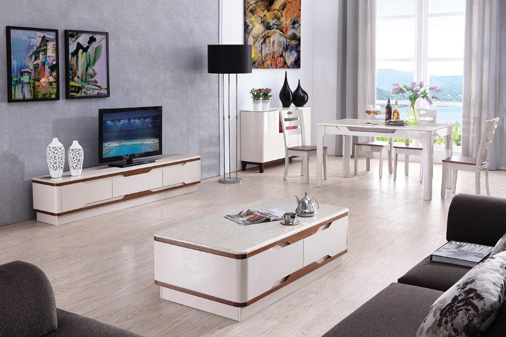 Lizz White Modern Coffee Table And Tv Cabinet Set Australia
