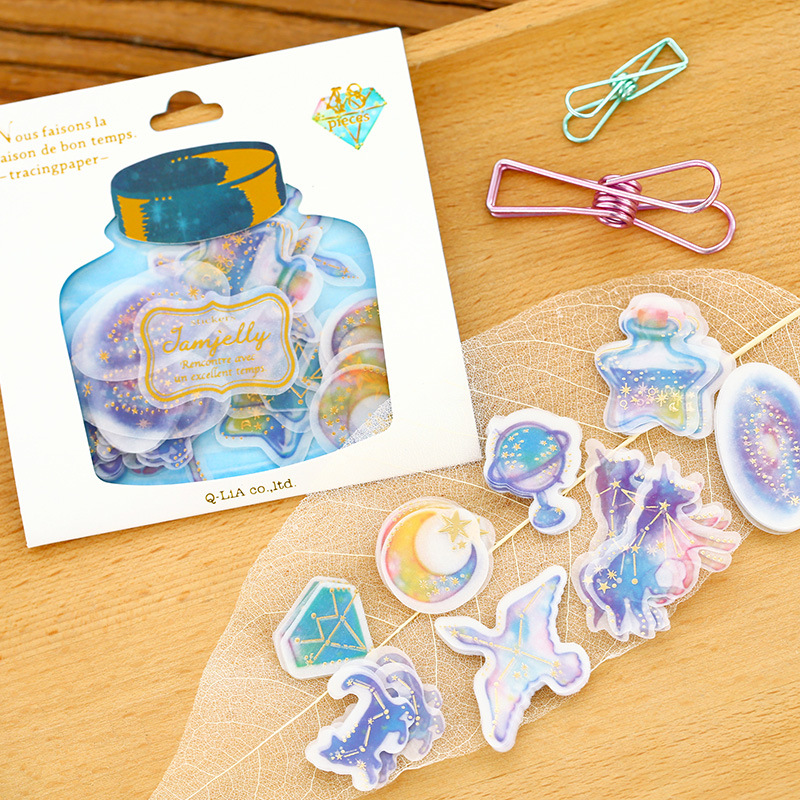 48pcs/pack Drift Bottle Decorative Sticker Diary Album Label Sticker DIY Scrapbooking Stationery Stickers Promotion spring and fall leaves shape pvc environmental stickers decorative diy scrapbooking keyboard personal diary stationery stickers