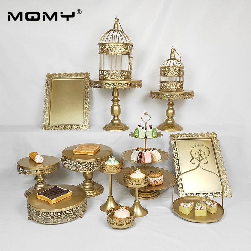 1PCS /Set Thin Disk Gold Pink White Silver Wedding 3 Tier Metal  Cake Stand