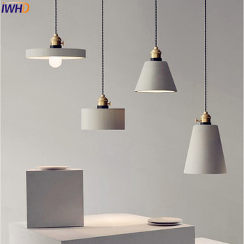 Nordic Cement LED Pendant Lights Fixtures American Creative Vintage Lamp Dinning Room Suspenion Luminaire Lighting Loft
