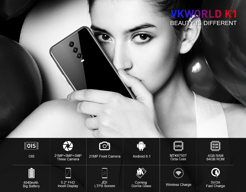 "VKWORLD K1 4GB+64GB5.2"" FHD MTK6750T Octa Core 4G Mobile Phone 5V 3A Android 8.1 21MP Three Back Camera OTG OTA Wireless charger"
