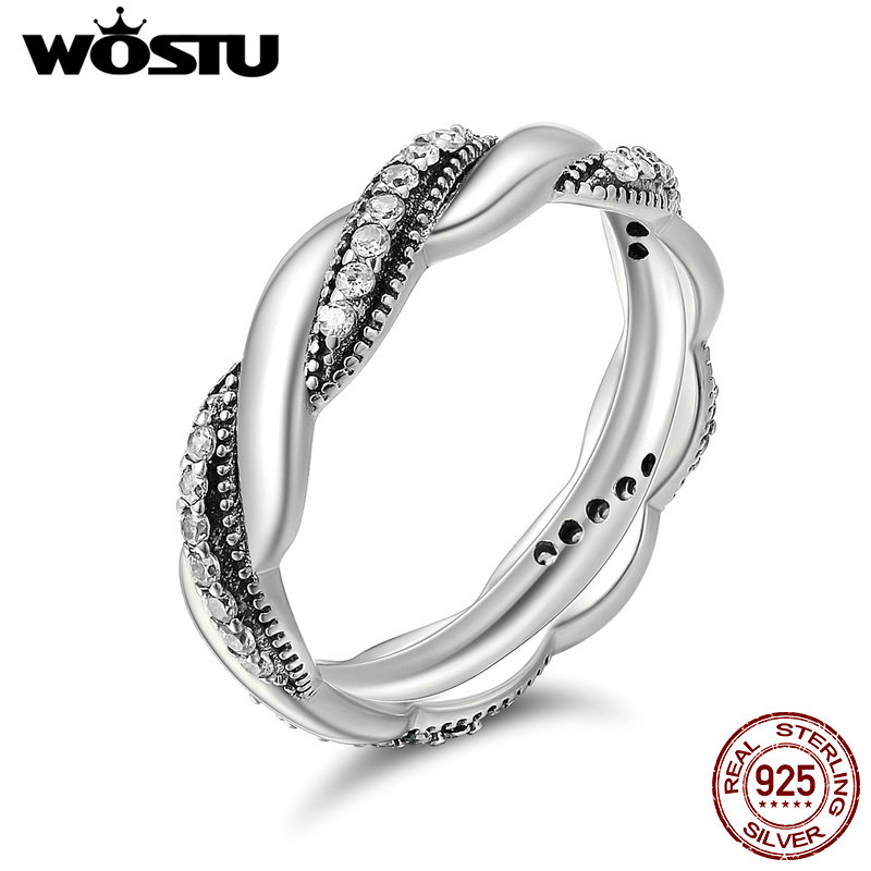 WOSTU New Fashion Real 925 Sterling Silver Ribbon Of Love Stackable Party Rings For Women Wedding Jewelry XCH7637