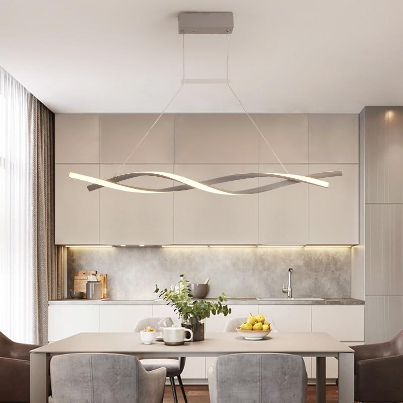 Suspension moderne pour barre de cuisine suspension 110V 220V aluminium vague Avize Lustre suspension pour salle à manger bureau - 3