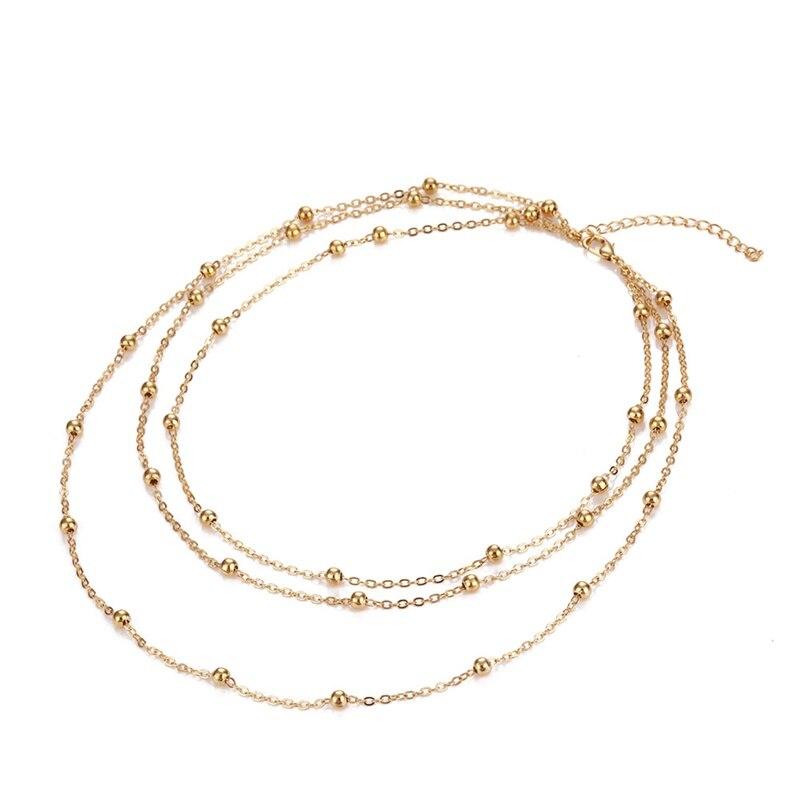 KISSWIFE Трендовое винтажное многослойное колье с круглыми бусинами, ожерелье с подвеской для женщин, девушек, бохо, ювелирные изделия ручной работы - Окраска металла: Gold