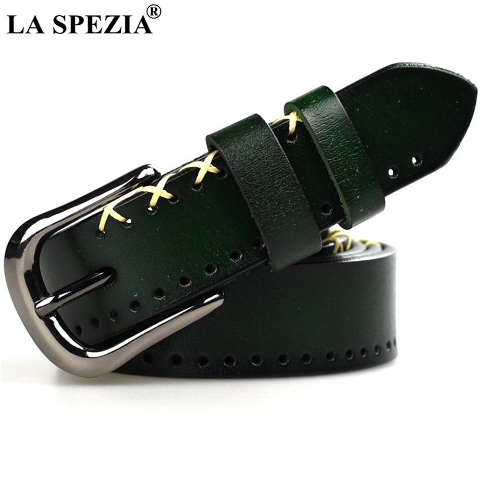 LA SPEZIA Green Belt Women Pin Buckle Belts Female Square Real Cow Leather Elegant High Quality Luxury Brand Belts Yellow Blue belt