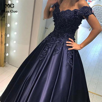 2018 Dark Blue Off Shoulder Evening Dresses Long with Appliques Beaded Short Sleeve A Line Formal Evening Party Dress