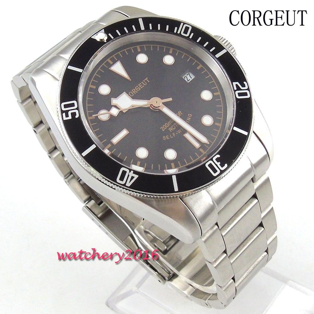 41mm Corgeut cadran noir verre saphir date ajuster mains lumineuses fermoir en acier inoxydable miyota mouvement Automatique montre pour hommes