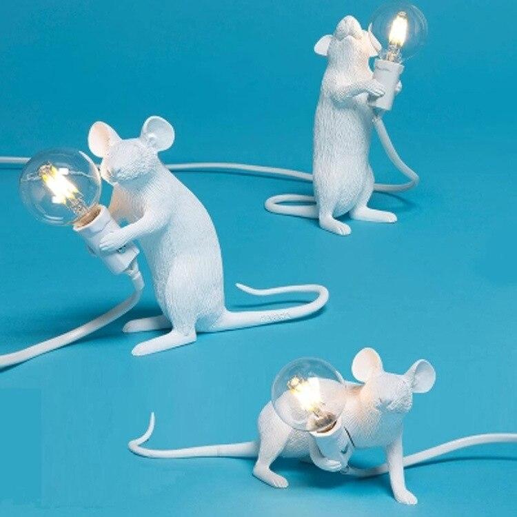SELETTI Modern reçine fare masa lambası LED E12 fare masa lambaları masası İskandinav çocuk odası dekoru LED gece ışıkları ab/AU/ abd/İngiltere tak