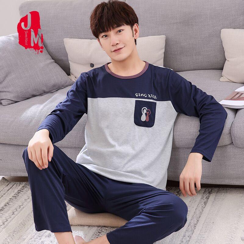 2018 Winter Autumn Mens Pajamas 100%Cotton Letter Striped Cartoon Pajama Set Long sleeve Casual Pyjamas Plus Size L XXXXL Pijama Pajama Sets     - title=