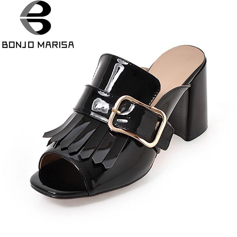 BONJOMARISSA 2018 Summer Big Size 33-43 Moda Mujer Black Wine Mules - Zapatos de mujer