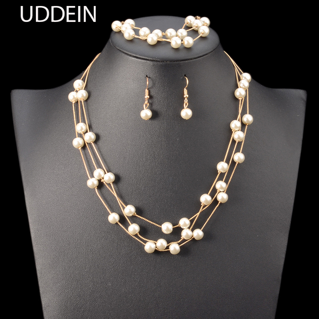 Uddein Nigerian Wedding Indian Jewelry Sets Simulated Pearl Necklace Earrings Bracelet Set Accessories Statement Choker