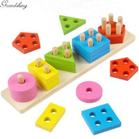 Montessori Educational Toys Wooden Geometric Sorting Board Block Montessori Sensorial Puzzle Building Blocks Preschool Kids Toys