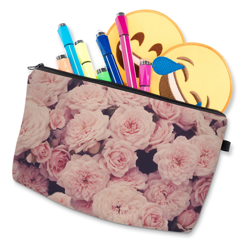 Fashion HD Pink Rose 3D Printing Cosmetic Bag Europe America Ladies Daily Cosmetic Bags Fashion Cosmetic Bag