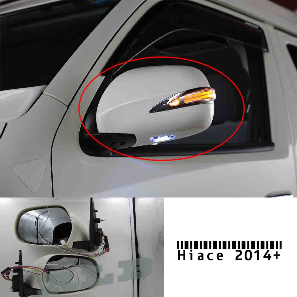 Chrome electric rearview side mirror with led lights for toyota hiace 2014 2015