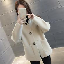 Giacca di Pelliccia di visone delle donne di allentato autunno e inverno nuova tendenza imitazione di velluto maglione cardigan in maglia