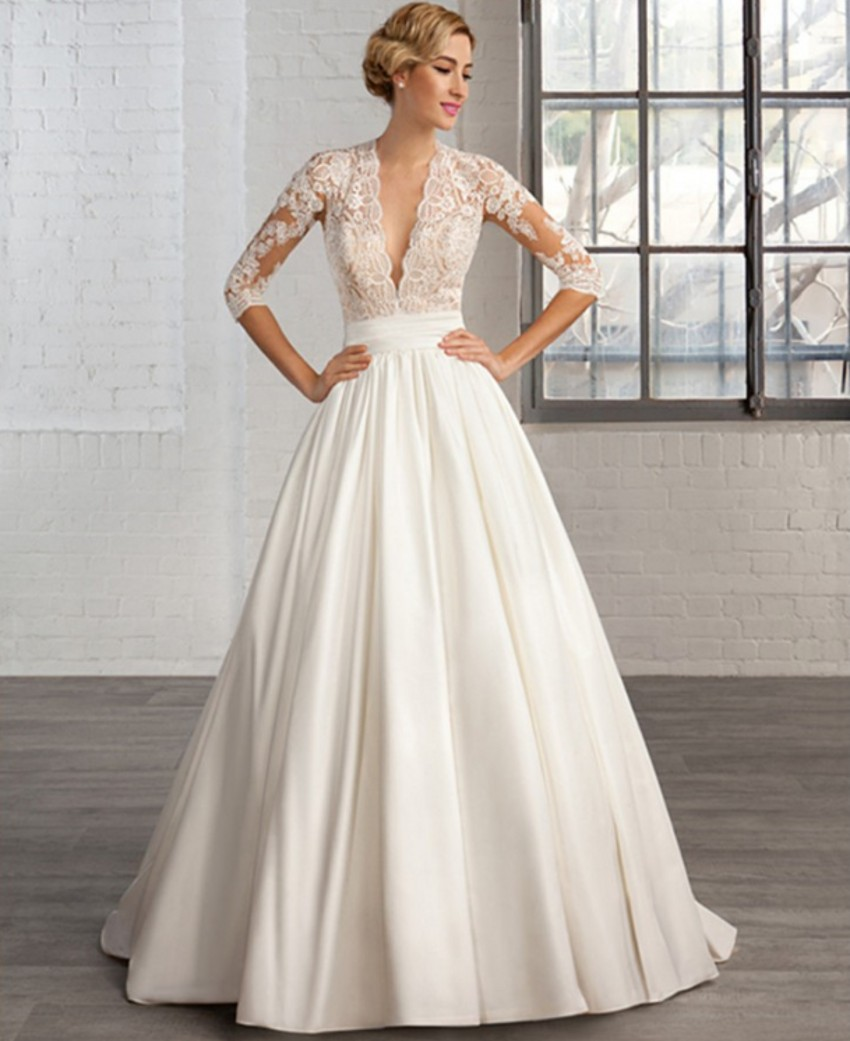 Ruching Wedding Gowns: New Arrival A Line V Neck Satin Short Cap Sleeve Button