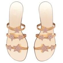 2019 Summer Fashion Womens Slippers Shiny Rhinestone Stars Decorative Sandals Open Toe Casual Women