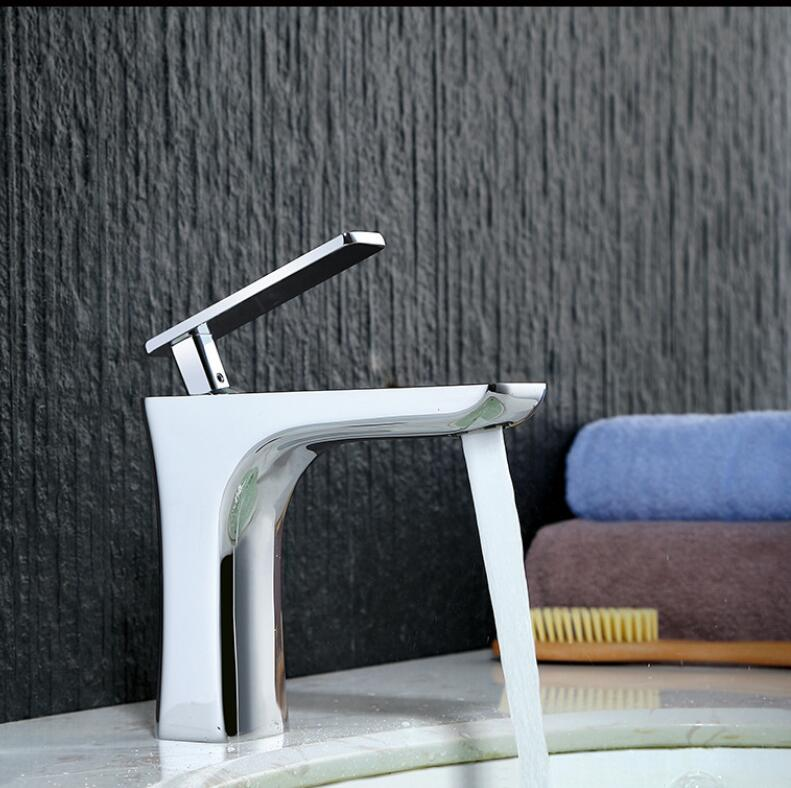 Brass Crane single lever hot and cold chrome/white basin faucet bathroom sink faucet Special bathroom faucet square international award design brass single lever bathroom basin faucet bathroom sink faucet bathroom faucet