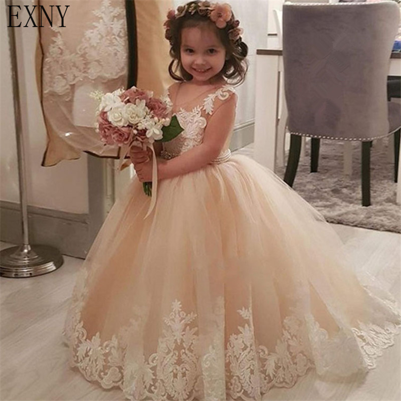 EXNY Champagne   Flower     Girl     Dresses   For Wedding Custom Made 2019 Hot Pageant   Dress   Lace Appliques Party Gowns