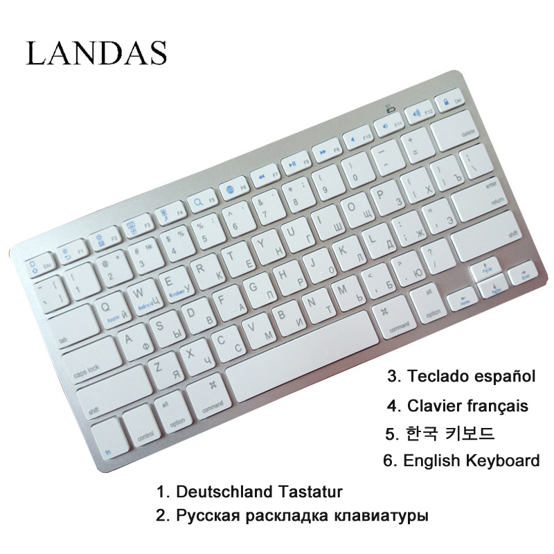 Landas English Spanish Keyboard USB Wireless Bluetooth Freach Korea German Russian Keyboard For Apple IOS Desktop Tablet Laptop sp wireless bluetooth keyboard tablet pc for sony svt11115fls svt11211clb svt11215clw spanish latin tablet keyboard