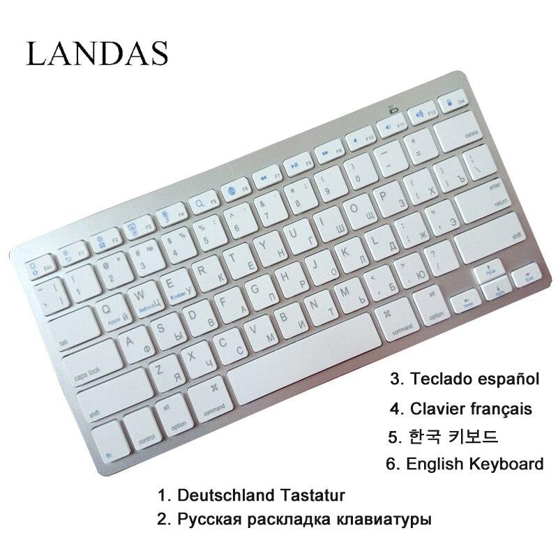 купить Landas English Spanish Keyboard Wireless Bluetooth Freach Korea German Russian Keyboard For Apple IOS Desktop Tablet Laptop недорого