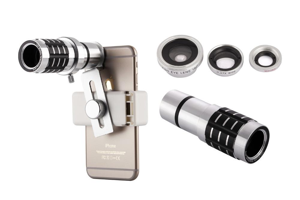12X Telephoto Lens Lenses 4 In 1 Phone Fish Eye Lens Universal Wide Camera Lens ojo de pez For iPhone Lens olho de peixe Tripod 9