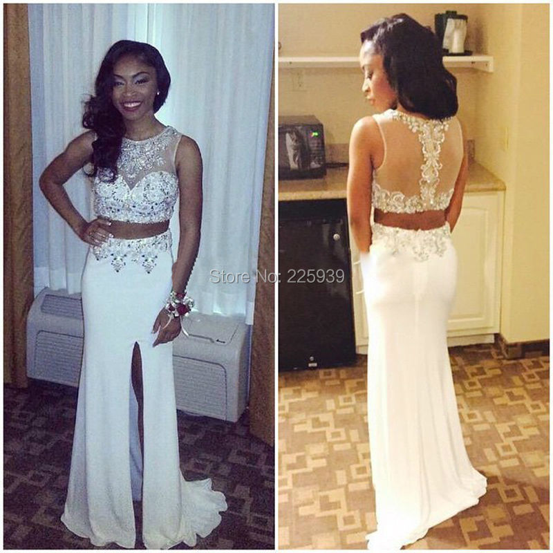 2d7a0e4c644 Hot Sale Boat Neck Nice Appliques Beaded Sequins High Slit Two Piece Long  Mermaid 2 Piece Sparkly Crop Top Prom Dresses Gowns-in Prom Dresses from  Weddings ...