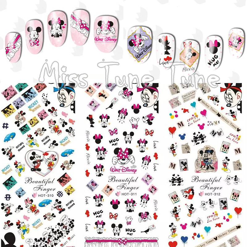 3 Sheets/Lots Nail Water Transfer Stickers Decals Manicure Watermark Tips HOT310-312 Mickey Minnie Couple Love Cute Mouse стоимость